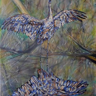 (CreativeWork) Brolga  reflection by Susan Willemse. acrylic-painting. Shop online at Bluethumb.