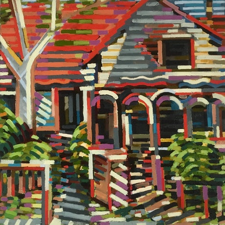(CreativeWork) Kingston Road  Revisited by D.M. (David Martin) Ross. Oil Paint. Shop online at Bluethumb.