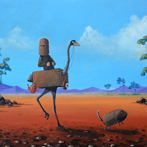 (CreativeWork) Ned Kelly and his Emu by Max Horst  Sokolowski. arcylic-painting. Shop online at Bluethumb.