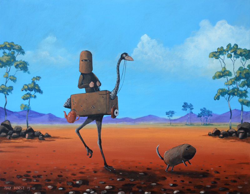 (CreativeWork) Ned Kelly and his Emu by Max Horst  Sokolowski. acrylic-painting. Shop online at Bluethumb.