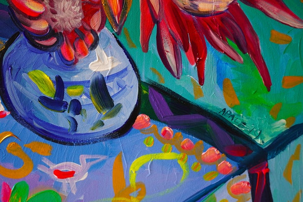 (CreativeWork) Still Life with Proteas and Lemons by Katerina Apale. Acrylic Paint. Shop online at Bluethumb.