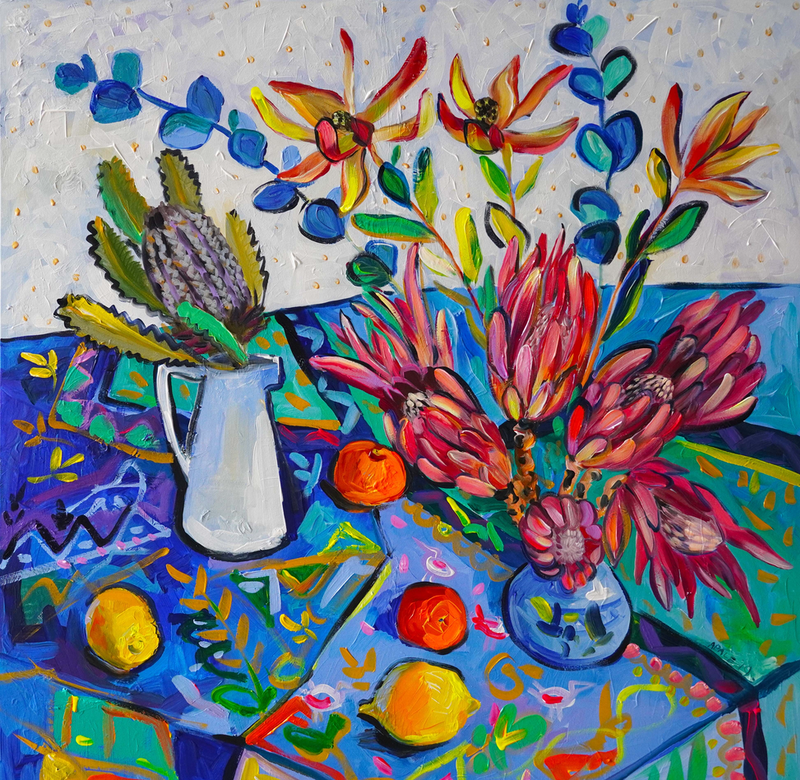 (CreativeWork) Still Life with Proteas and Lemons by Katerina Apale. arcylic-painting. Shop online at Bluethumb.