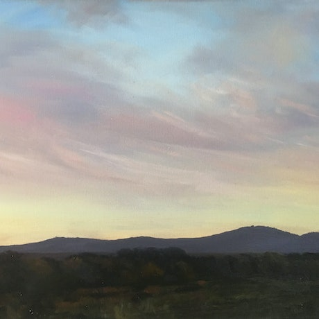 (CreativeWork) Dusk Over The Mountain by Philomena Carroll. Oil Paint. Shop online at Bluethumb.