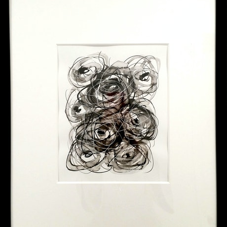 (CreativeWork) About Love - Roses Only #3 - Framed 43x53x1 cm by Olga Kolesnik. Drawings. Shop online at Bluethumb.