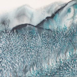 (CreativeWork) Find Me Dreaming By the River (Abstract Landscape, Watercolour and Acrylic) by Leni Kae. mixed-media. Shop online at Bluethumb.