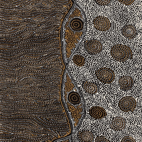 (CreativeWork) Napaljarri-warnu Jukurrpa (Seven Sisters Dreaming) by Shanna Napanangka Williams. Acrylic Paint. Shop online at Bluethumb.