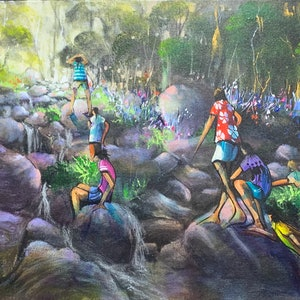 (CreativeWork) Adventurers - Original Artwork  by Donald James Waters OAM. acrylic-painting. Shop online at Bluethumb.