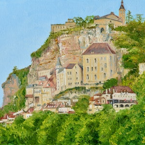 (CreativeWork) Rocamadour in South Central France by Dai Wynn. oil-painting. Shop online at Bluethumb.
