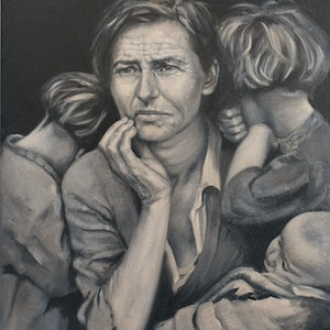 (CreativeWork) Faces of the Depression by Chris Goldberg. oil-painting. Shop online at Bluethumb.