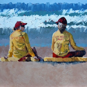 (CreativeWork) Two Lifeguards III by Claire McCall. oil-painting. Shop online at Bluethumb.
