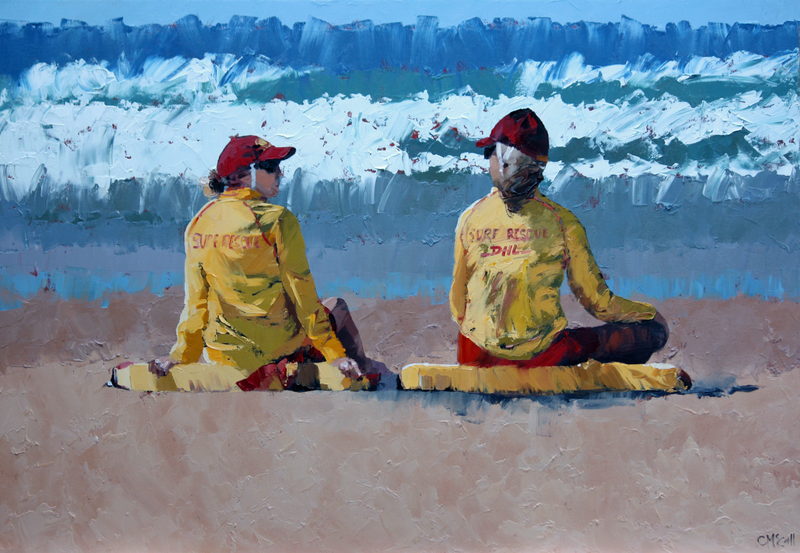 (CreativeWork) Two Lifeguards III by Claire McCall. #<Filter:0x00007ff7cde18fa8>. Shop online at Bluethumb.