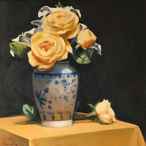 (CreativeWork) Roses and Lilies by kirsty mcintyre. oil-painting. Shop online at Bluethumb.