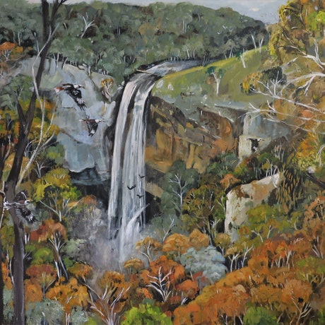 (CreativeWork) Australian Landscape - The Falls by Susan Trudinger. Acrylic Paint. Shop online at Bluethumb.