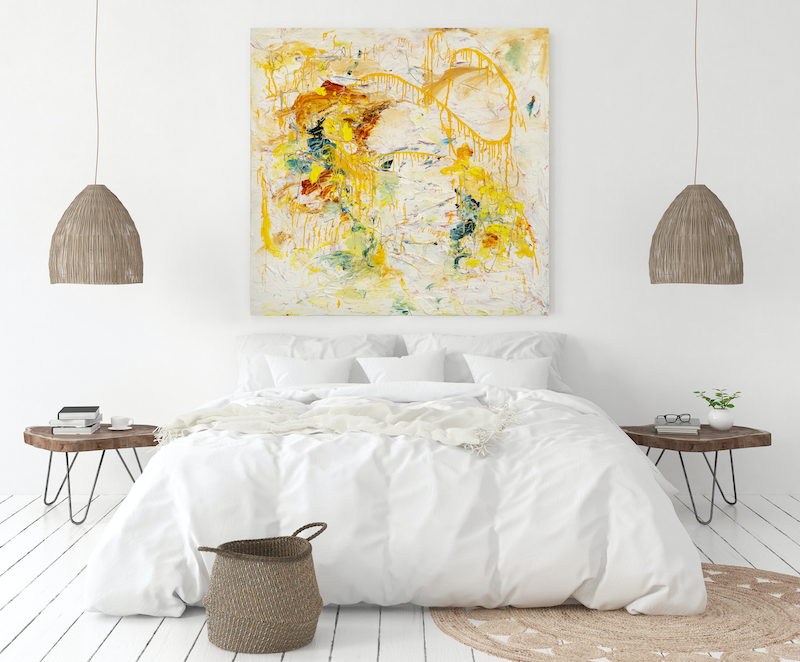 (CreativeWork) Yellow Abstract - Truth Of Happiness by Annette Spinks. Acrylic Paint. Shop online at Bluethumb.