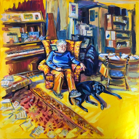 (CreativeWork) Judy and her Zooby the Composer's Dog by Valentyna Crane. Acrylic Paint. Shop online at Bluethumb.