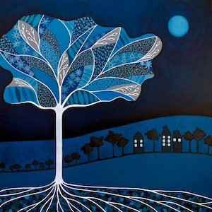 (CreativeWork) Once In A Blue Moon by Lisa Frances Judd. acrylic-painting. Shop online at Bluethumb.
