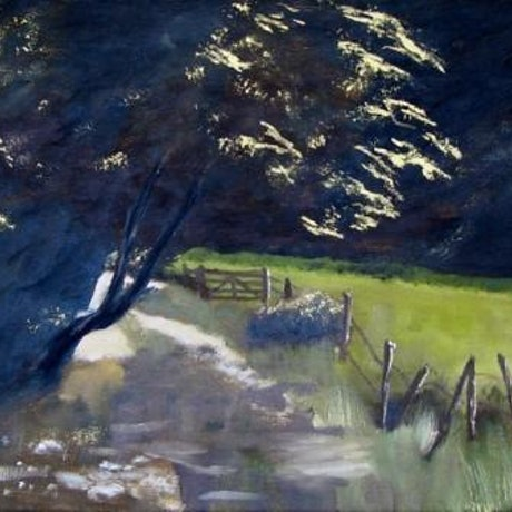 (CreativeWork) The Gate by Basil Mitchell. Oil Paint. Shop online at Bluethumb.