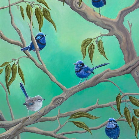 (CreativeWork) Blue Wrens by Michelle Williamson. Oil Paint. Shop online at Bluethumb.