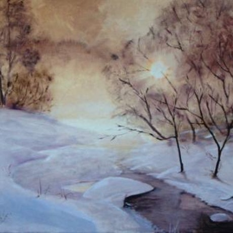 (CreativeWork) Christmas Morning Dawns Bright by Basil Mitchell. Oil Paint. Shop online at Bluethumb.