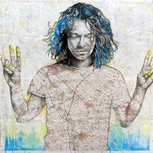 (CreativeWork) Wish You Were - Michael Hutchence by Sharon England. drawing. Shop online at Bluethumb.