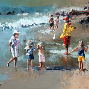 (CreativeWork) Beach Life by Claire McCall. oil-painting. Shop online at Bluethumb.