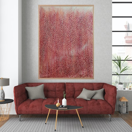 (CreativeWork) Illawarra Flame Tree, Heart of the Bold  (Red Abstract Landscape) by Leni Kae. Acrylic Paint. Shop online at Bluethumb.