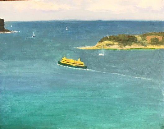 (CreativeWork) The Heads & Ferry by Ishbel Morag Miller. Oil Paint. Shop online at Bluethumb.