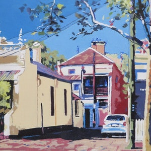 (CreativeWork) Back Streets No 1 by Jennifer Viney. #<Filter:0x00007fbc986bf498>. Shop online at Bluethumb.