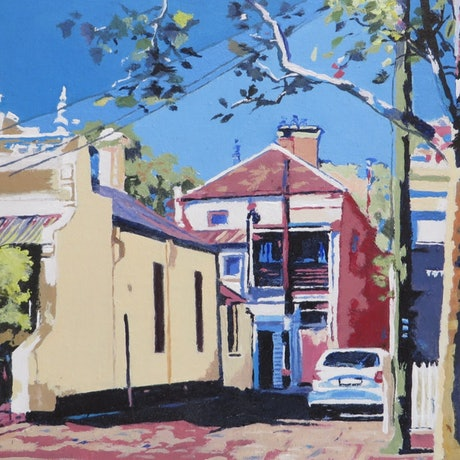(CreativeWork) Back Streets No 1 by Jennifer Viney. Oil Paint. Shop online at Bluethumb.