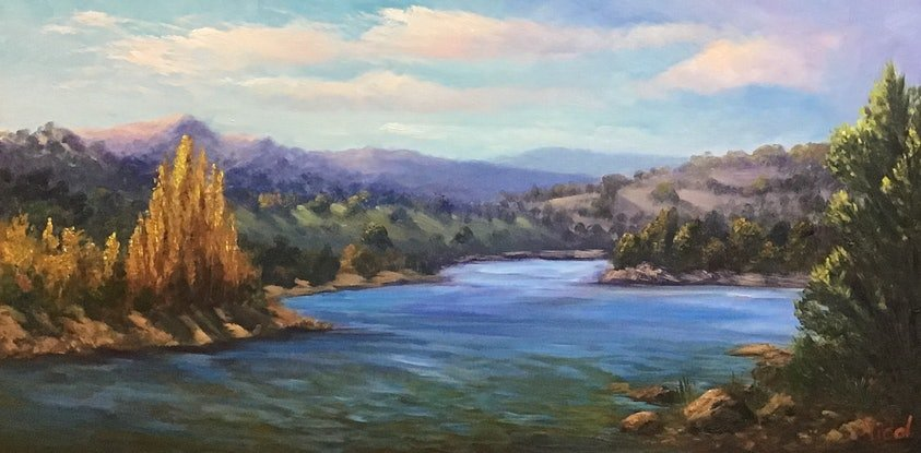 (CreativeWork) An autumn afternoon near Lake Jindabyne - ready to hang  by Christopher Vidal. Oil Paint. Shop online at Bluethumb.