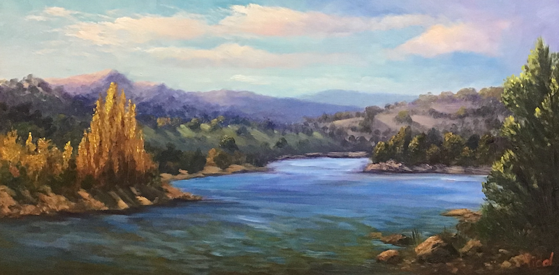 (CreativeWork) An autumn afternoon near Lake Jindabyne - ready to hang  by Christopher Vidal. oil-painting. Shop online at Bluethumb.