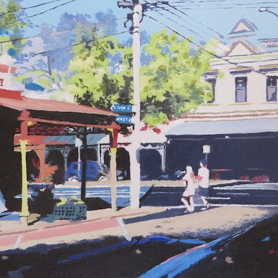 (CreativeWork) Back Streets No 2 by Jennifer Viney. oil-painting. Shop online at Bluethumb.