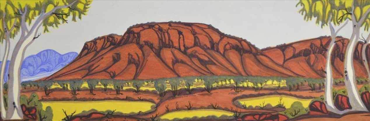 (CreativeWork) West MacDonnell Ranges, NT Cat#: 233-14 by Mervyn Rubuntja. Watercolour Paint. Shop online at Bluethumb.