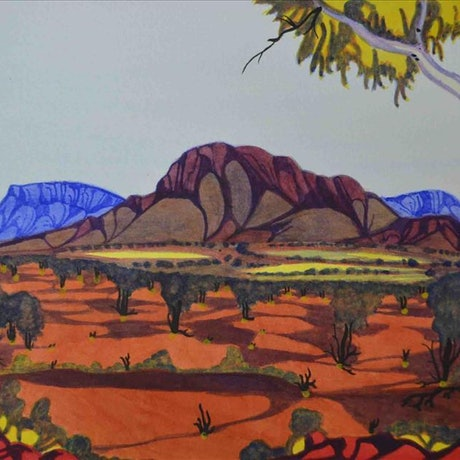 (CreativeWork) East MacDonnell Ranges, NT Cat#: 4-16 by Mervyn Rubuntja. Watercolour Paint. Shop online at Bluethumb.
