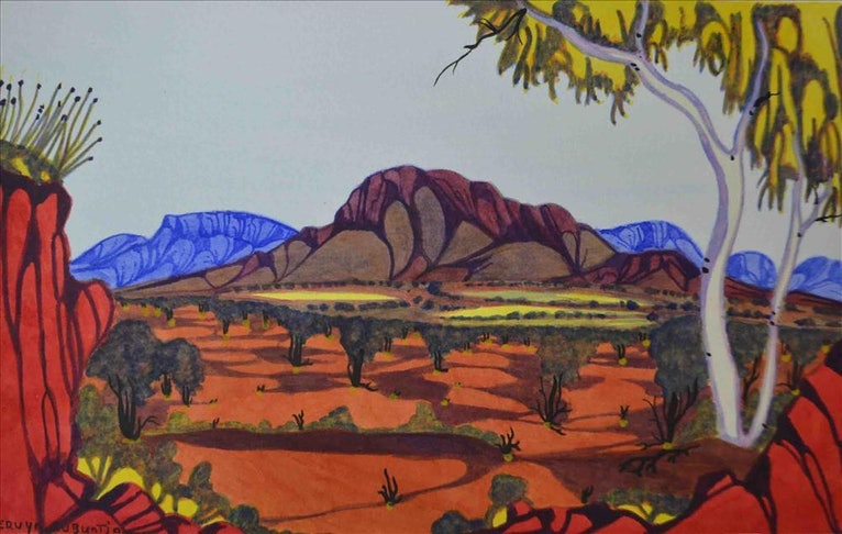 (CreativeWork) East MacDonnell Ranges, NT Cat#: 4-16 by Mervyn Rubuntja. watercolour. Shop online at Bluethumb.