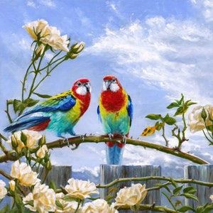 (CreativeWork)  ROSELLAS ON ROSES oil 57 x 50 by Jennifer Marshall. #<Filter:0x00007fbc9889cbf8>. Shop online at Bluethumb.