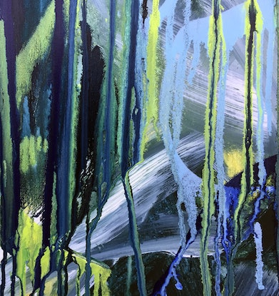 (CreativeWork) Coastal Deluge II – Original Abstract Art by Jacquelyn Stephens. Acrylic Paint. Shop online at Bluethumb.