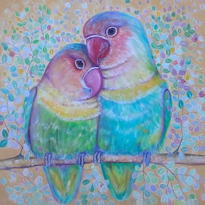 (CreativeWork) Love Birds by Joanne Scriha. oil-painting. Shop online at Bluethumb.
