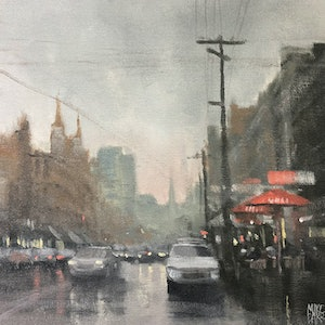 (CreativeWork) Coffee on Brunswick by Mike Barr. oil-painting. Shop online at Bluethumb.