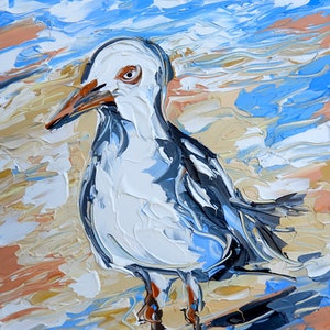 (CreativeWork) Sandy the Seagull by Lisa Fahey. acrylic-painting. Shop online at Bluethumb.