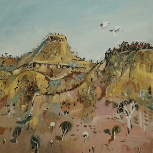(CreativeWork) Australian landscape  - Yellow Hills by Susan Trudinger. arcylic-painting. Shop online at Bluethumb.