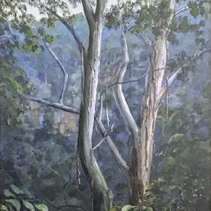 (CreativeWork) Illawarra Rainforest Clover Hill Road by Colin Hadfield. acrylic-painting. Shop online at Bluethumb.