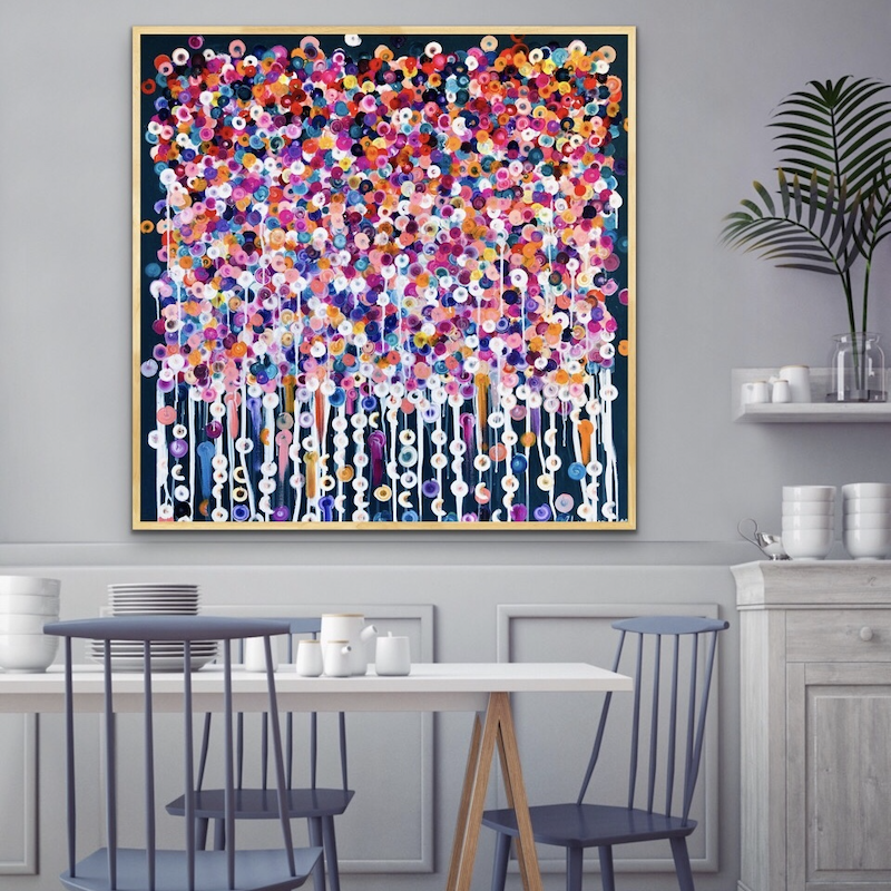 (CreativeWork) Nightshade framed 102x102  by Sophie Lawrence. arcylic-painting. Shop online at Bluethumb.