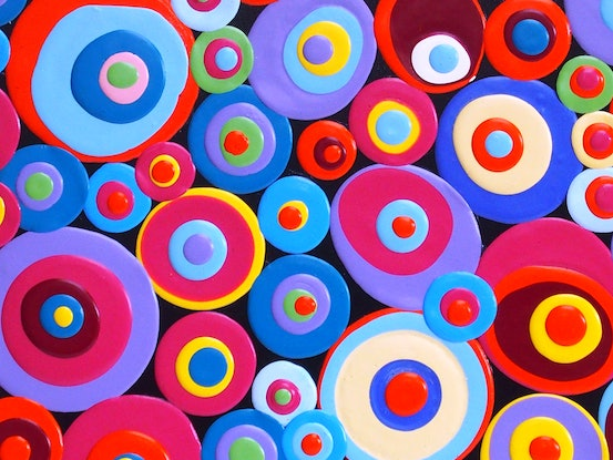 (CreativeWork) Dolly Mixtures  by Julee Latimer. Acrylic Paint. Shop online at Bluethumb.