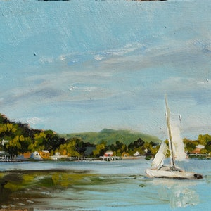 (CreativeWork) A good day for a sail by Zac Hampson. oil-painting. Shop online at Bluethumb.