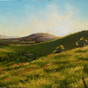(CreativeWork) Sun set christmas eve by Zac Hampson. oil-painting. Shop online at Bluethumb.