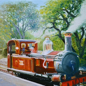(CreativeWork) Manx Locomotive No. 4 by Dai Wynn. oil-painting. Shop online at Bluethumb.