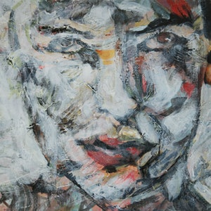 (CreativeWork) Woman portrait painting by a naylan. acrylic-painting. Shop online at Bluethumb.
