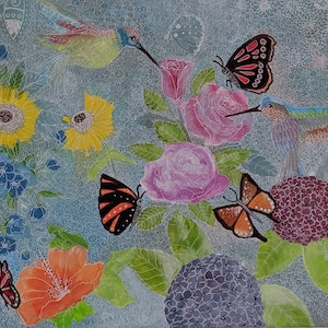 (CreativeWork) Butterfly world by Michelle Baumann. mixed-media. Shop online at Bluethumb.