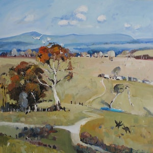 (CreativeWork) Australian landscape  - Dry Pastures by Susan Trudinger. arcylic-painting. Shop online at Bluethumb.